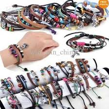 braided leather cord bracelet images New men women braid leather cord beads cross heart bracelet jpg