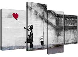 large banksy canvas prints balloon red
