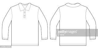 white long sleeve polo shirt design template premium clipart