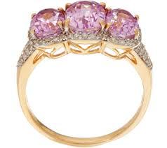 rose gold amethyst diamond ring oval kunzite u0026 pave u0027 diamond 3 stone ring 14k gold 2 85 cttw