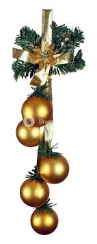 gold shiny baubles with gold ribbon isolated on white