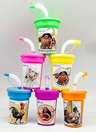 favor cups 6 disney moana stickers birthday sipper cups with lids