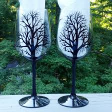 spooky halloween black tree silhouette hand painted wine