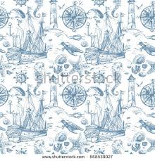 nautical wrapping paper nautical elements seamless pattern vintage sea stock illustration