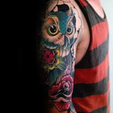 50 owl sleeve tattoos for men nocturnal bird design ideas