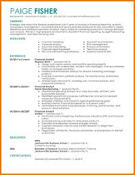 Resume Sample Finance by 8 Financial Analyst Cv Financial Statement Form