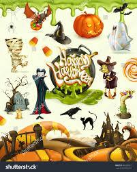 halloween 3d vector icons set cartoon stock vector 466382012
