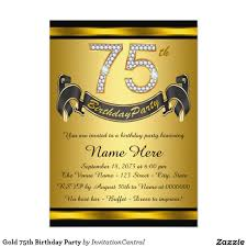 Invitation Cards Birthday Party Gold 75th Birthday Party 5x7 Paper Invitation Card U2026 Pinteres U2026