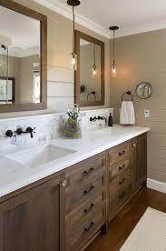 Bathroom Wood Vanities Oil Finish Bathroom Farmhouse With Pendant Lighting Medium Tone