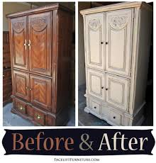 clothing armoire in distressed off white u0026 tobacco glaze before