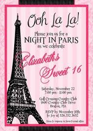 eiffel tower sweet 16 party invitations in yellow chevron sweet