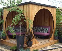 backyard seating area garden pods juice and landscaping