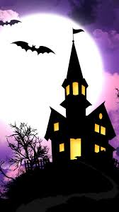 spooky halloween house illustration android wallpaper free download