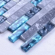 Glass And Stone Backsplash Tile by Grey Marble Stone Blue Glass Mosaic Tiles Backsplash Kitchen Wall Tile