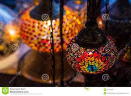 turkish decorative lamps of mosaics glass stock photo image