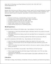 Electronics Technician Resume Samples by Professional Test Technician Templates To Showcase Your Talent