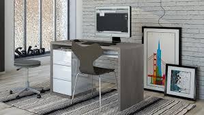 Schreibtisch Weiss Hochglanz Lack Moneta In Beton Und Weiß Hochglanz Lackiert