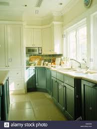 Kitchen Green Kitchen Colors Stock Blue Green Painted Units In Modern White Bermudan Kitchen With