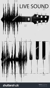 sound wave transformation keyboard piano fretboard stock vector