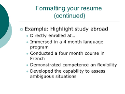 Study Abroad On Resume Internationalizing Your Resume Sarah Bell And Marilyn Shull Career