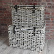 Clothes Hampers With Lids Large Wicker Hamper Baskets Lid Leather Straps Set 2 Toy Basket