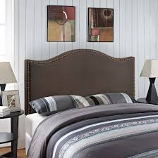 Nailhead Upholstered Headboard Curl Queen Nailhead Upholstered Headboard Dark Brown Wavy Lines