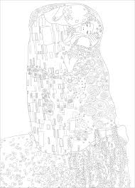 gustav klimt the kiss master pieces coloring pages for adults