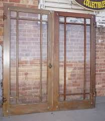 Salvaged French Doors - antique craftsman style entry door 1910 nine pane fir