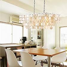 Dining Room Ceiling Lights Amazon Com Handcrafted White Capiz Chandelier Light Shade Fair