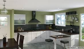 architecture u shaped kitchen layout design green wall paitn