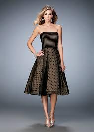 2016 fashion black striped polka dot tea length prom dress