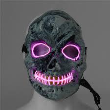 Led Light Halloween Costume Led Light Skeleton Skull Mask Scary Halloween Costume