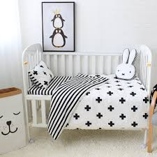 White Crib Set Bedding 3pcs Baby Bedding Set Cotton Crib Sets Black White Stripe Cross