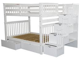 Bunk Beds Full Over Full Stairway White  Drawers - Height of bunk beds