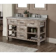Rustic Bath Vanities Infurniture Rustic Style 60 Inch Double Sink Bathroom Vanity And