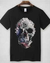 flower sugar skull t shirt for sleeve creative t