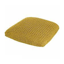 large cotton knitted pouffe floor cushion red yellow black grey