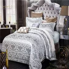 Jacquard Bedding Sets Luxury Jacquard Bedding Set Shiny Satin Duvet Cover Set Bridal Bed