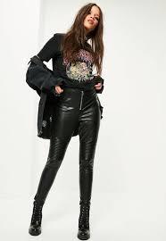 petite black faux leather knee detail leggings missguided