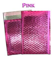 100 pack 4x8 pink metallic poly bubble mailers
