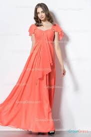 coral pink sweetheart neck front cascading chiffon prom dress with