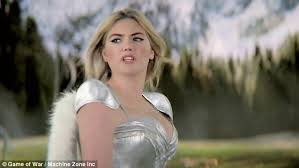 car commercial girl short blond hair kate upton shows off her assets in game of war fire age advert
