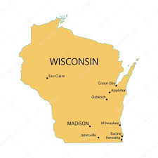 Maps Of Wisconsin by Yellow Map Of Wisconsin With Indication Of Largest Cities U2014 Stock