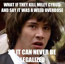 Marijuana Overdose Meme - what if they kill miley cyrus and say it was a weed overdose so it
