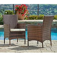 Wicker Armchair Outdoor Amazon Com Atlantic Liberty Deluxe Wicker Armchair Brown Set