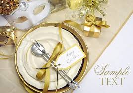 Happy New Year Table Decoration by White And Gold Theme Elegant Happy New Year Table Setting U2014 Stock