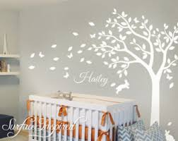 Tree Nursery Wall Decal Baby Room Decals White Tree Forest Wall Decal Nursery