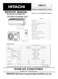 hitachi rac e14h2 ras e14h2a service manual download schematics