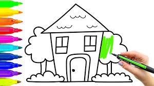 learning for kids how to draw house colouring videos with