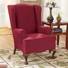 decorating enchanting burgundy stretch wing chair slipcover ideas